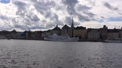 Gamla Stan (Old Town) eastern embankment in Stockholm Stock Footage