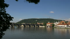 Vltava River and Charles Bridge in Prague. Stock Footage