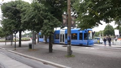 Blue SL tram serving the Stockholm's only central tram route Stock Footage