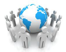 People worldwide connections concept 3d illustration Stock Illustration