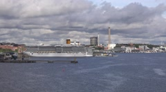 Panoramic view of Vartahamnen harbor of Stockholm from an approaching ferry Stock Footage