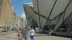 Royal Ontario Museum ROM Tourism Toronto Sidewalk Entrance Day People 2 Stock Footage