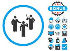 Discussion Group Flat Vector Icon with Bonus Stock Illustration