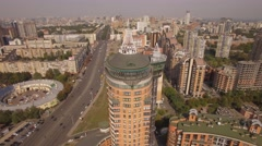 Aerial. Block of flats. Huge modern house near city highway. 4K Stock Footage