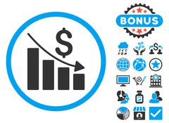 Recession Chart Flat Vector Icon with Bonus Stock Illustration