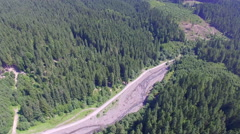 Aerial view of the road and the forest Stock Footage