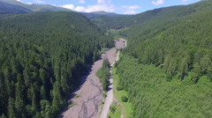 View from a drone on the road and forest Stock Footage