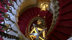 Looking down staircase in Duino castle Stock Footage