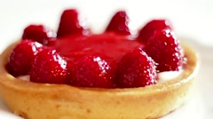 Rotating Raspberry Tart, Beautiful Sweet Desert, Close up Stock Footage