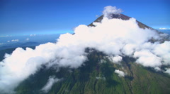 Aerial view Mt Agung Gunung Agung volcano mountain Bali Indonesia Southeast Asia Stock Footage