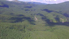Panorama of forests in the mountains. aerial view Stock Footage