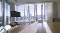 Interior view of empty meeting room in a modern London office building on a Stock Footage