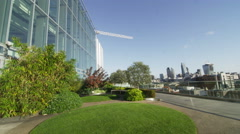 Outdoor view of the London skyline as seen from a city central office Stock Footage