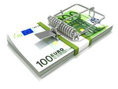 3D render mousetrap installed on euro banknote stack Stock Illustration