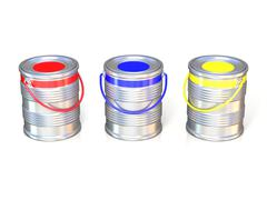 Metal tin cans with basic colors (red, blue and green) paint Stock Illustration