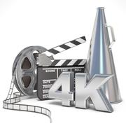 Video, movie, cinema production concept. Reels, clapperboard, megaphone and 4 Piirros