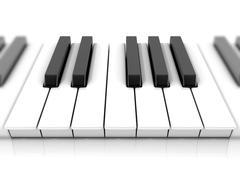 Set of piano keys. One octave. 3D Stock Illustration