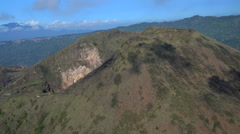 Aerial view Mt Batur mountain Caldera Volcano Bali Indonesia Stock Footage