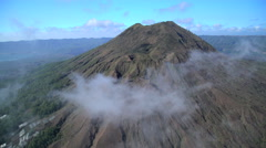Aerial view Mt Batur mountain Caldera Volcano Bali Indonesia Southeast Asia Stock Footage