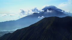 Aerial view Mt Batur Mt Abang Mt Agung Volcano Bali Indonesia Southeast Asia Stock Footage