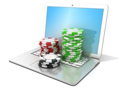 Laptop with red, green and black chips. 3D Stock Illustration