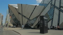 Royal Ontario Museum ROM Tourism Toronto Sidewalk Entrance Day People Wide Stock Footage