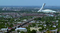 Montreal skyline with olympic stadium in summer Stock Footage