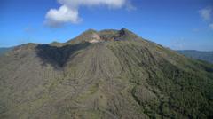 Aerial view Mt Batur Peak Caldera Volcano Bali Indonesia Stock Footage