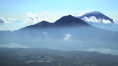Aerial view Mt Abang Mt Agung Volcano Bali Indonesia Stock Footage