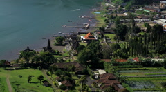 Aerial view Ulun Dano Bratan Temple Bali Indonesia Southeast Asia Stock Footage