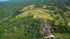 Aerial view Ubud plantation farming rice terraces Bali Indonesia Southeast Asia Stock Footage