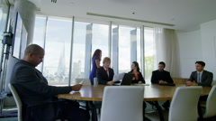 Diverse corporate business team in boardroom meeting in city office Stock Footage