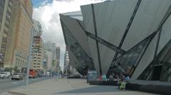 Royal Ontario Museum ROM Tourism Toronto Sidewalk Entrance Day People Stock Footage