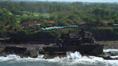Aerial view Tanah Lot Temple Shrine Indian Ocean Bali Indonesia Southeast Asia Stock Footage