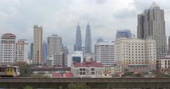 Panorama of Kuala Lumpur and moving trains, Malaysia Stock Footage