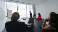 Corporate business team in boardroom meeting in London city office Stock Footage