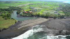 Aerial coastal view of plantation rice fields Bali Indonesia Southeast Asia Stock Footage