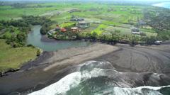 Aerial coastal view of plantation rice fields Bali Indonesia Southeast Asia Arkistovideo