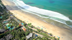 Aerial view Kuta Resorts and shoreline Bali Indonesia Southeast Asia Stock Footage