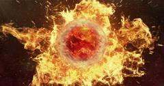 Motion Background VJ Loop - Orange Lens Sphere Orange Fire Particles 4k Stock Footage