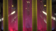 4K Amazing Magic Fountain Montjuic waterjet and colorful light Barcelona emblem Stock Footage