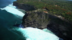Aerial view Uluwatu Temple Shrine Jimbaran Bay Indian Ocean Bali Southeast Asia Stock Footage