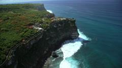 Aerial view Uluwatu Temple Shrine Jimbaran Bay Indian Ocean Bali Southeast Asia Stock Footage