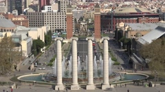 4K Aerial view Magic Fountain and traffic street Spanish Square Barcelona emblem Stock Footage