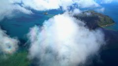 Aerial view of Hamilton Island Coral Sea Whitsundays Queensland Australia Stock Footage
