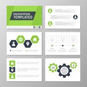 Set of green template for multipurpose presentation slides. Leaflet, annual Piirros
