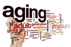 Aging word cloud Stock Illustration