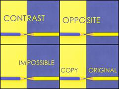 Photo collage of CONTRAST concept over Yellow and Violet coloured paper Stock Photos