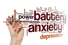 Battery anxiety word cloud Stock Illustration