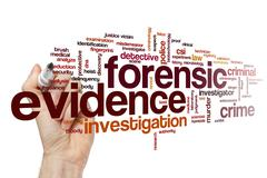 Forensic evidence word cloud Stock Illustration